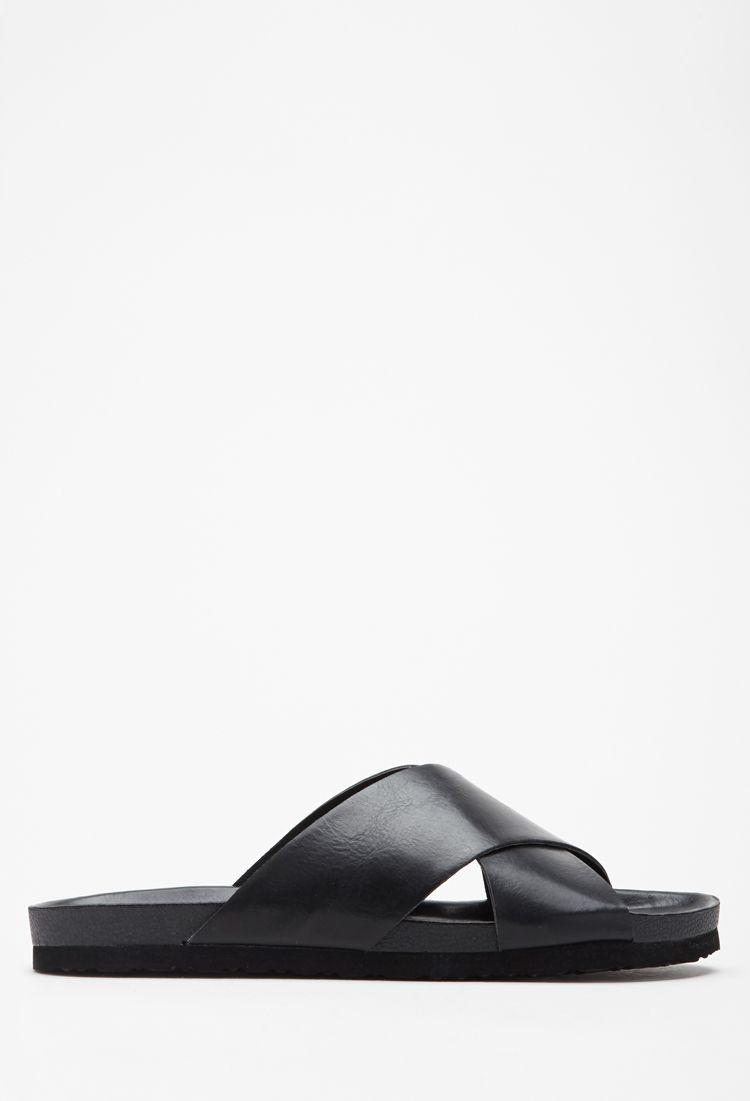 2987f2d67 Faux Leather Crisscross Sandals