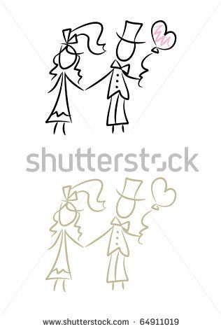 Wedding Doodles Simple Drawing Of Bride And Bridegroom Two Color Versions Included This Stock Ilration On Shutterstock Find Other Images