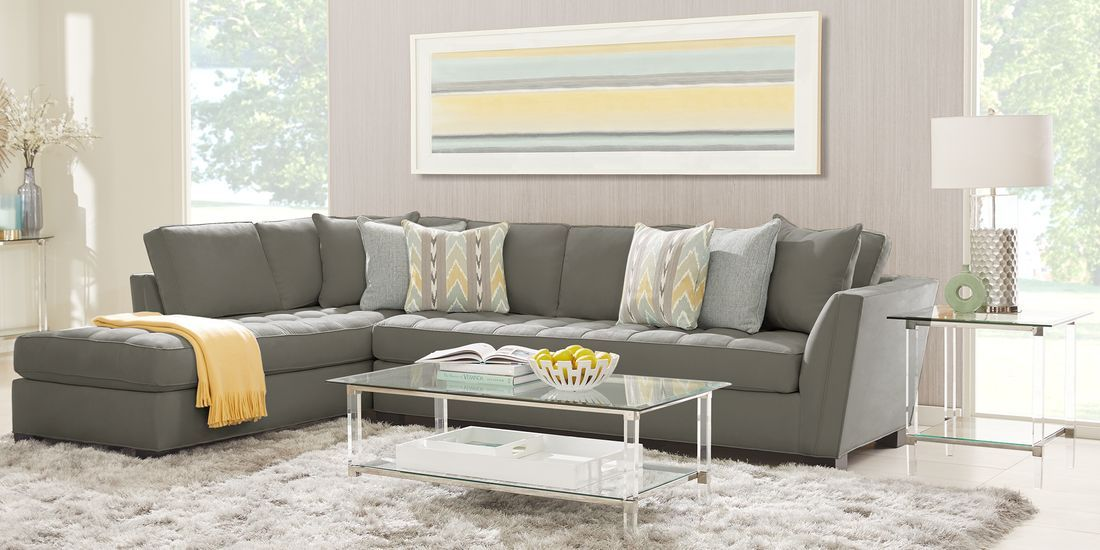Cindy Crawford Home Calvin Heights Steel Microfiber 2 Pc Xl Sectional Living Room Sets Furniture Cindy Crawford Home Living Room Sectional