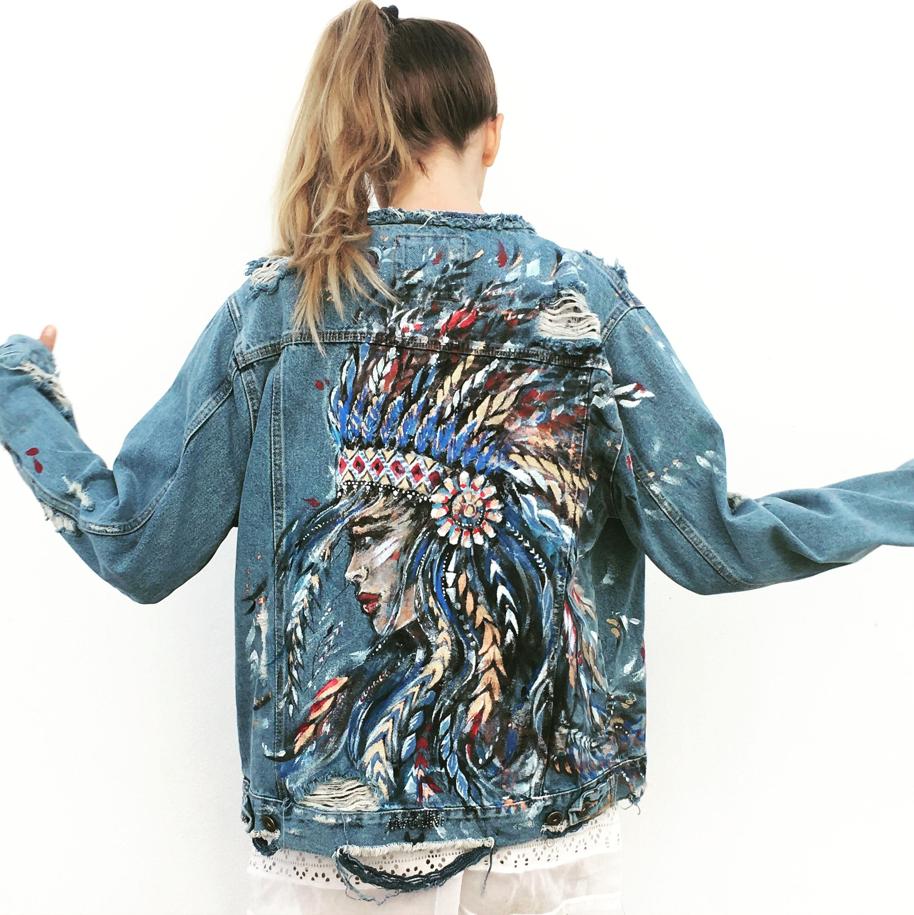 899afeaf0d40d Hand painted denim jacket by Ukrainian artist Ana Kuni www.anakuni ...