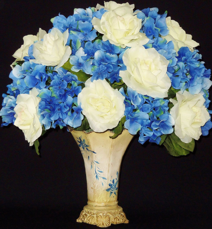 Silk Flower Arrangements White Roses Blue Hydrangea Floral Vase