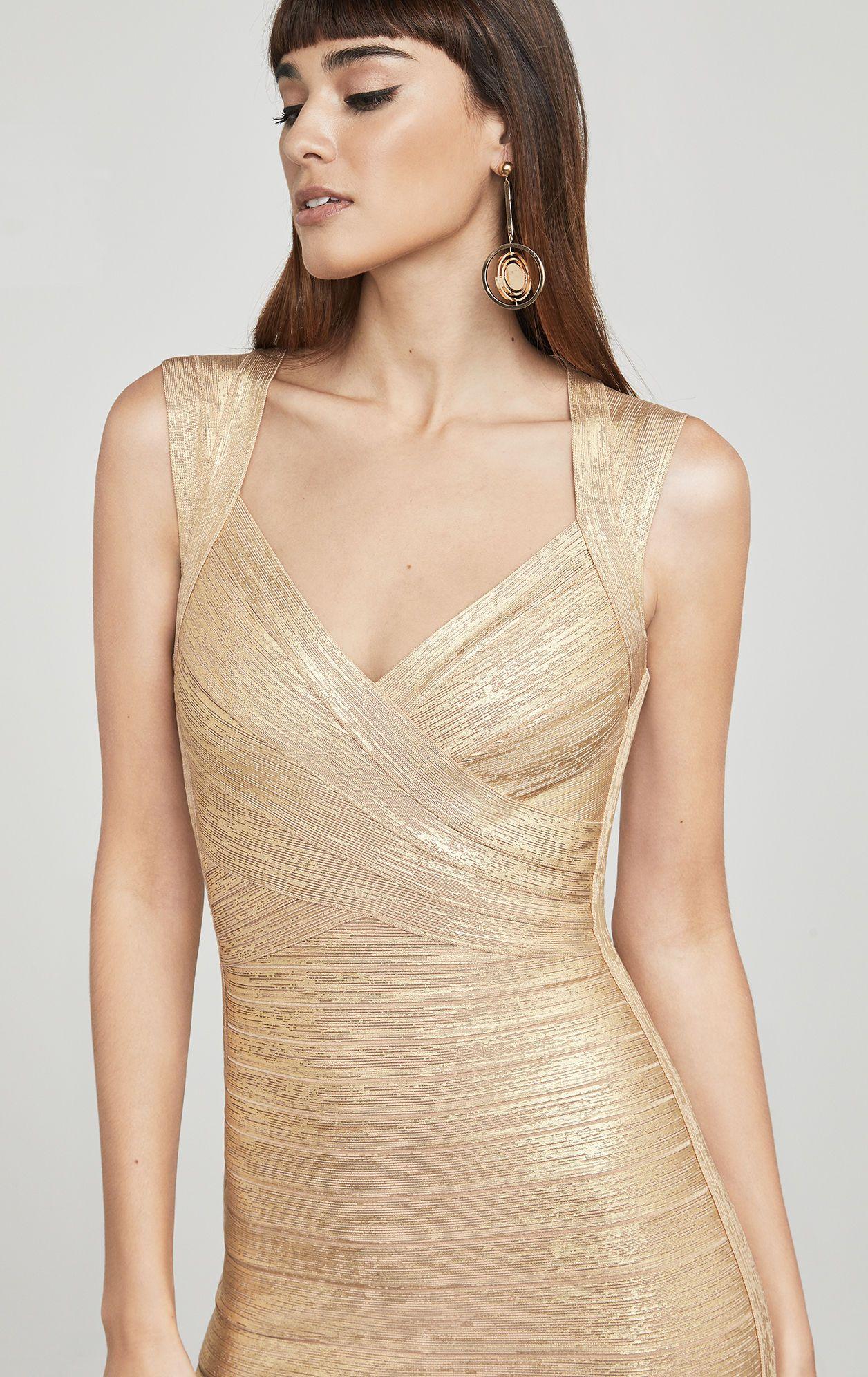 Iman foil bandage dress ladies pinterest