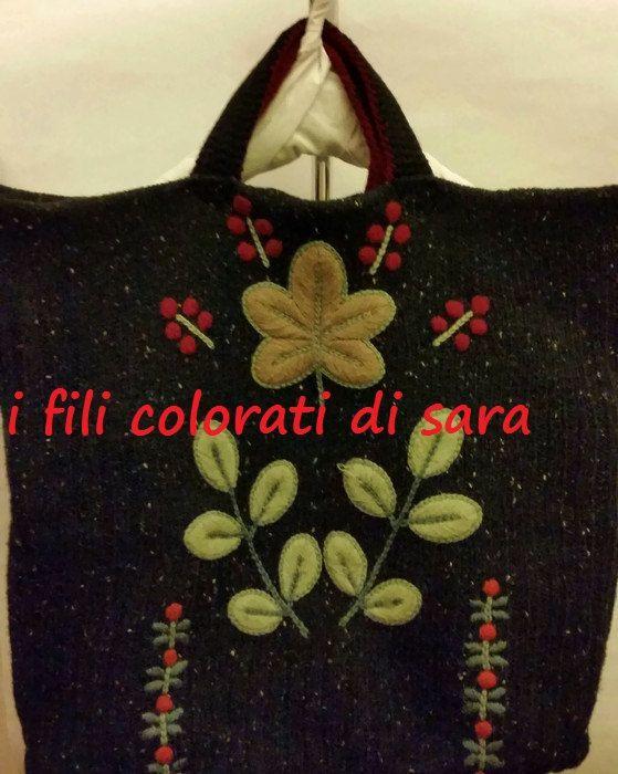 Grande borsa da lavoro in lana nera mélange di ifilicoloratidisara