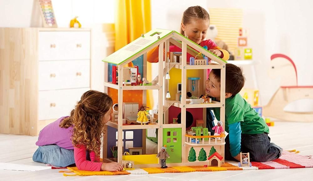 Wooden Large Dollhouse Unisex Girls Kids Wooden Doll House Furniture