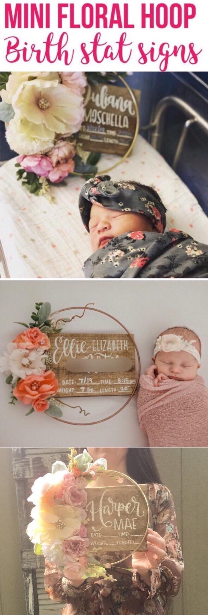 Birth stat Floral hoop hospital sign, birth stat sign