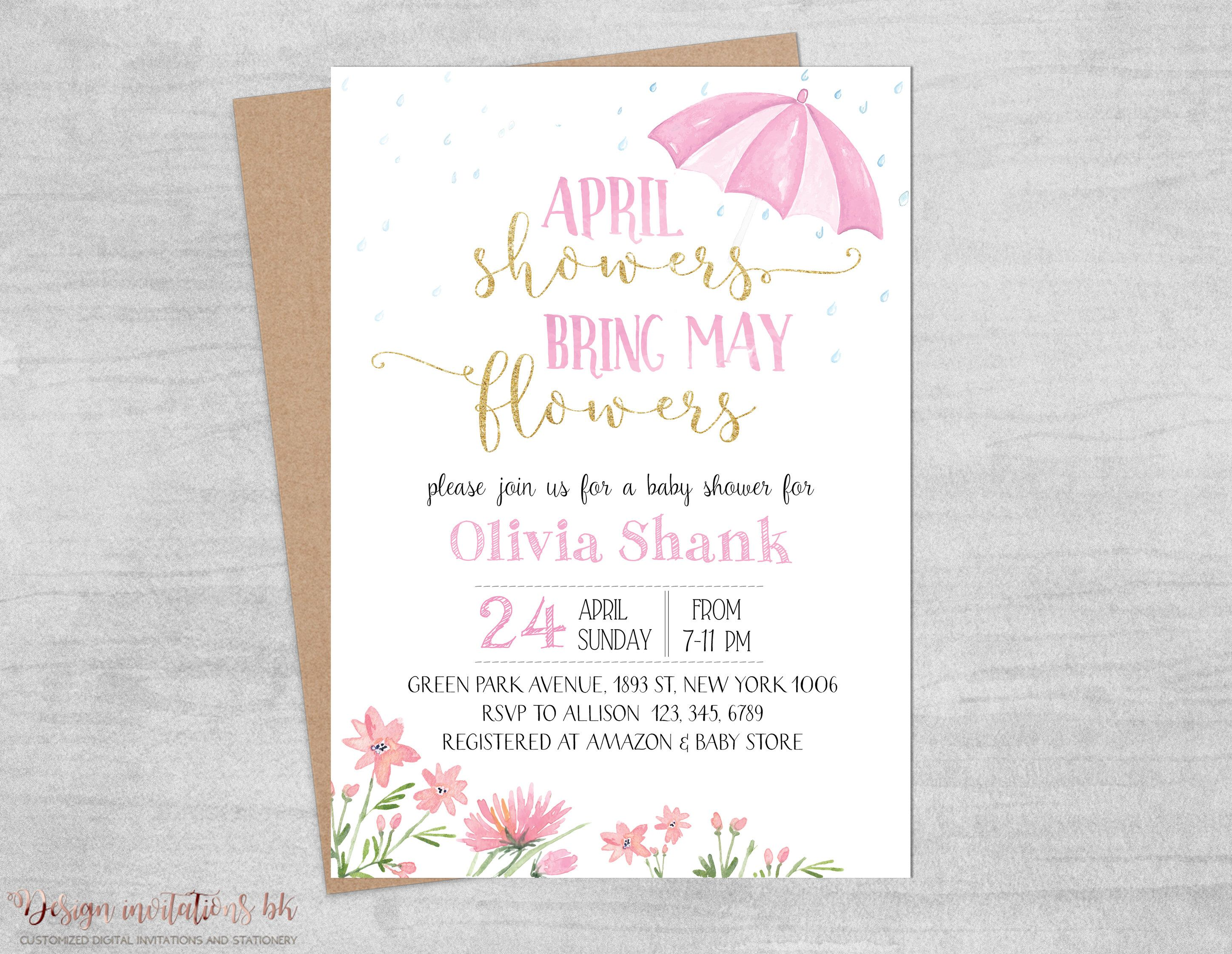 April Showers Bring May Flowers, Baby Shower Invitation Printable ...