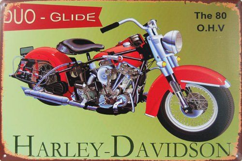 Harley Davidson Motorcycle The 80 O H V Duo Glide Metal Tin Sign Vintage Style Wall Ornament Coffee Bar Decor 20 X 30 Vintage Bar Wall Ornaments Tin Signs