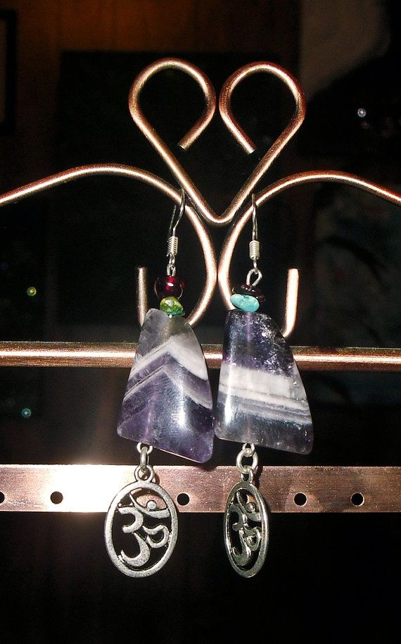 Inner visions and Calming perspective- Chevron Banded Amethyst Earrings with OM charms, Garnet and Turquoise -Reiki Blessed https://www.etsy.com/listing/156219314/inner-visions-and-calming-perspective?ref=shop_home_active