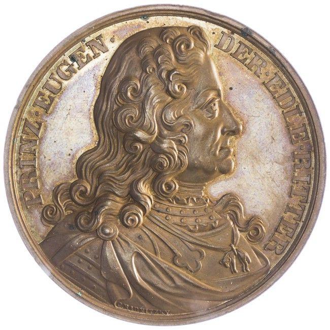 AE-Medaille 1865 Prinz Eugen, Med: Carl Radnitzky, auf die Enthüllung des Prinz Eugen Denkmals in Wien. Av: Büste des berühmten Feldherrn, Rv: Denkmal von Anton Fernkorn