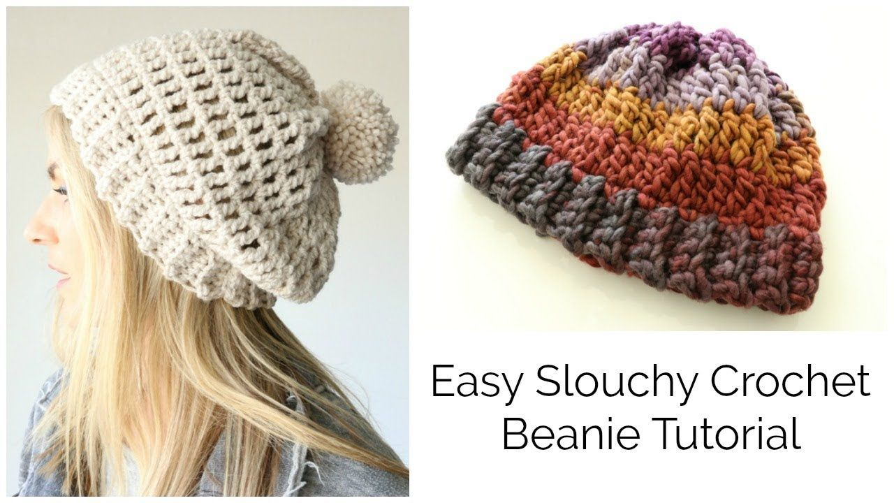 Easy Slouchy Crochet Beanie Tutorial - Treble stitch - YouTube ...