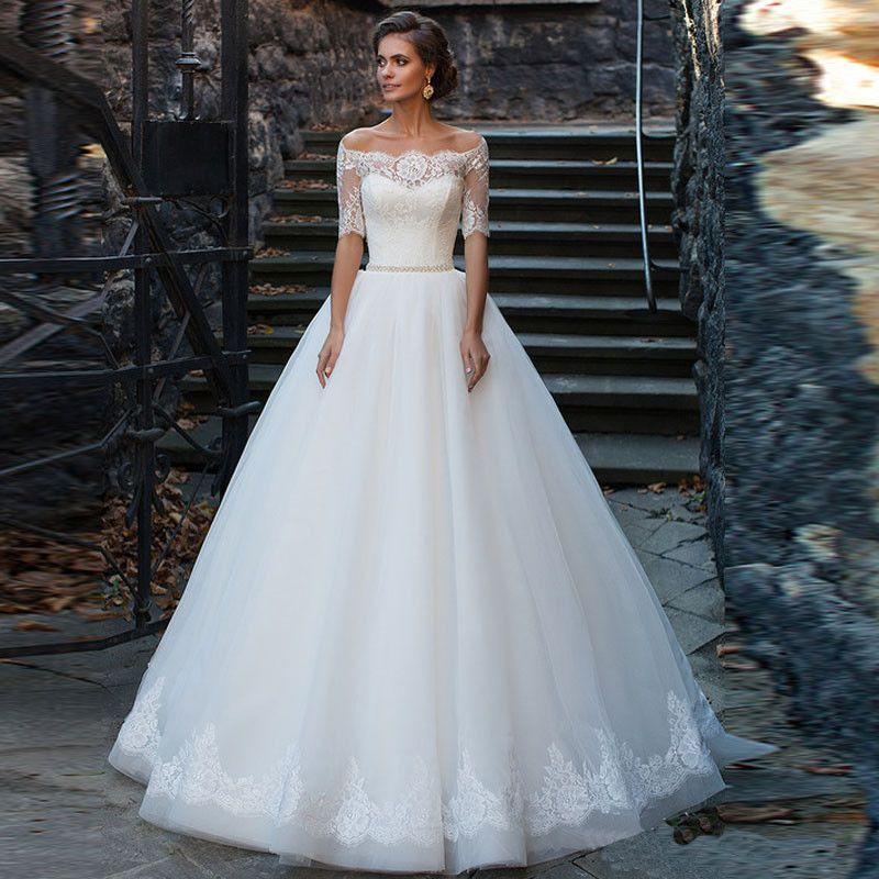 Fashion 2017 New A Line Wedding Dresses Organza Half Boat Neck Lace Button Ribbons Vestido De