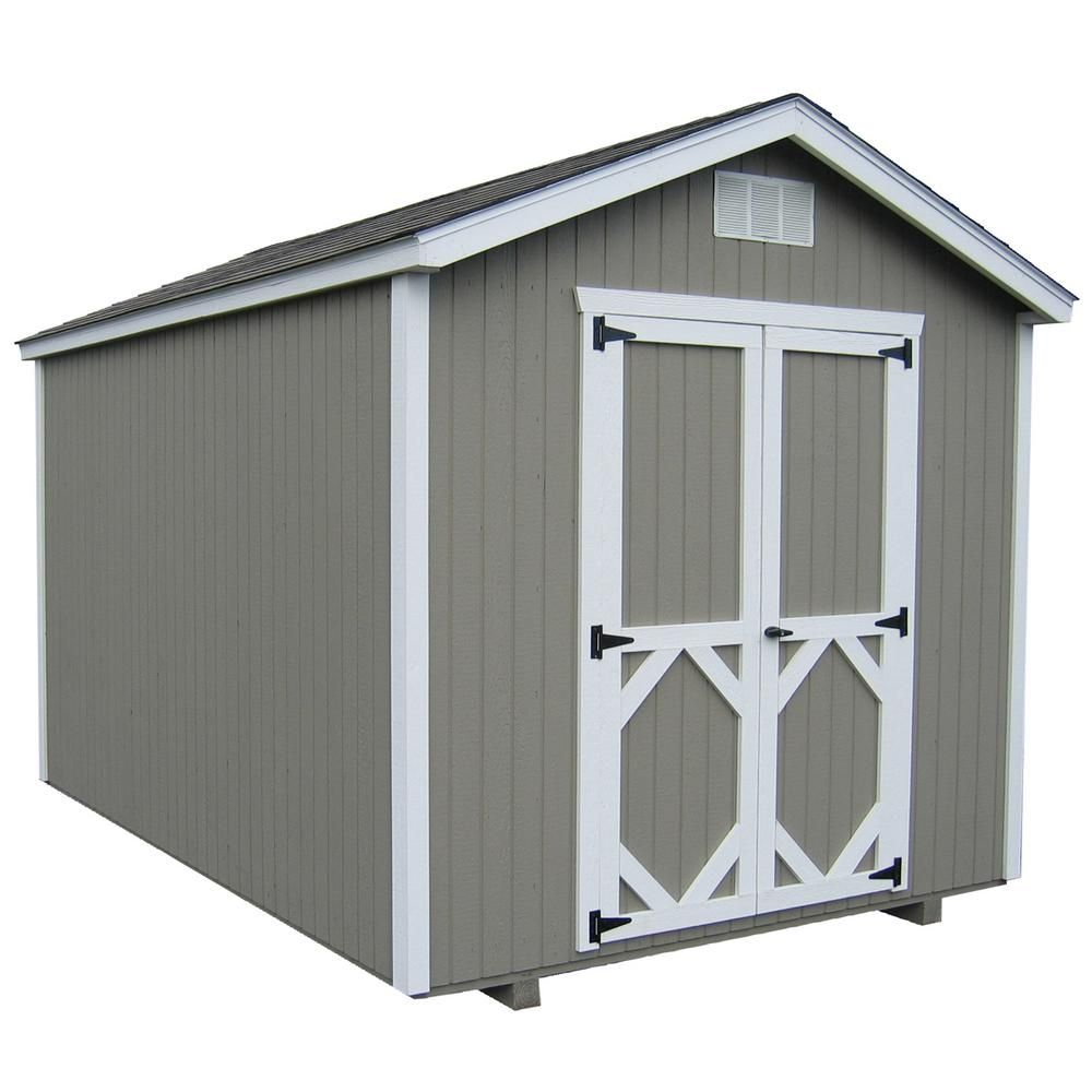 Little Cottage Co Classic Gable 8 Ft X 12 Ft Wood Storage Building Precut Kit With Floor Browns Tans In 2020 Wood Shed Plans Built In Storage Shed Plans