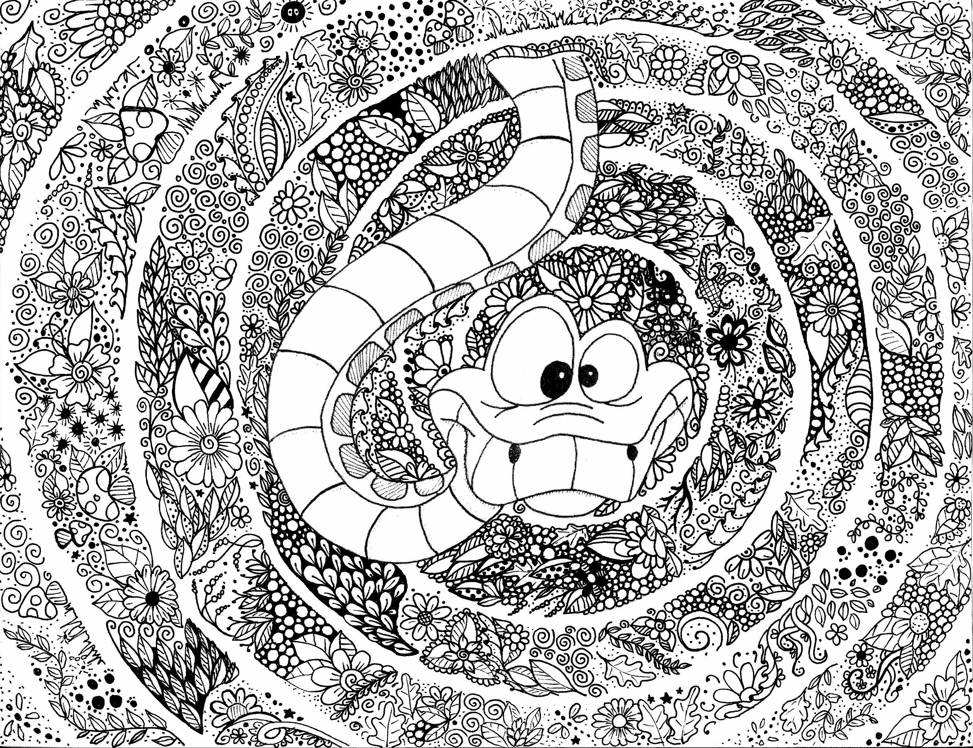 Disney Coloriage Colouring Coloring Serpent Snake Zendoodle