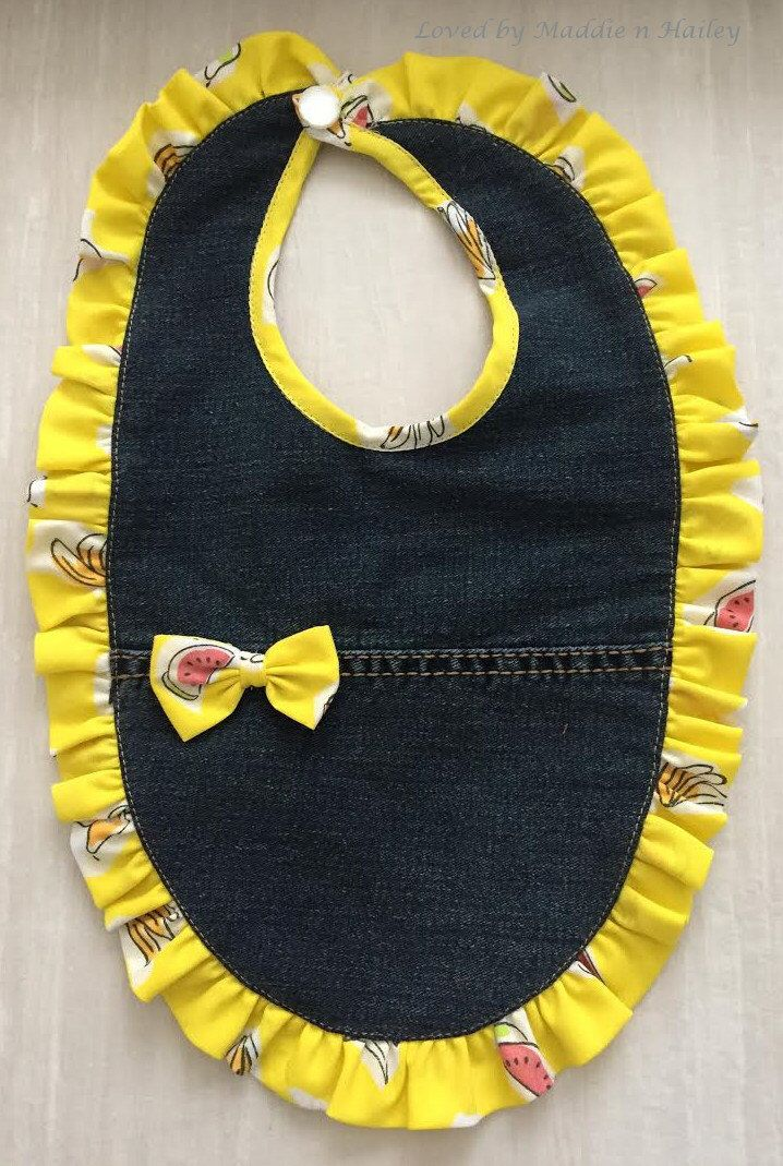 A personal favorite from my Etsy shop https://www.etsy.com/listing/213728076/denim-bib-adorable-yellow-trim-and-bow