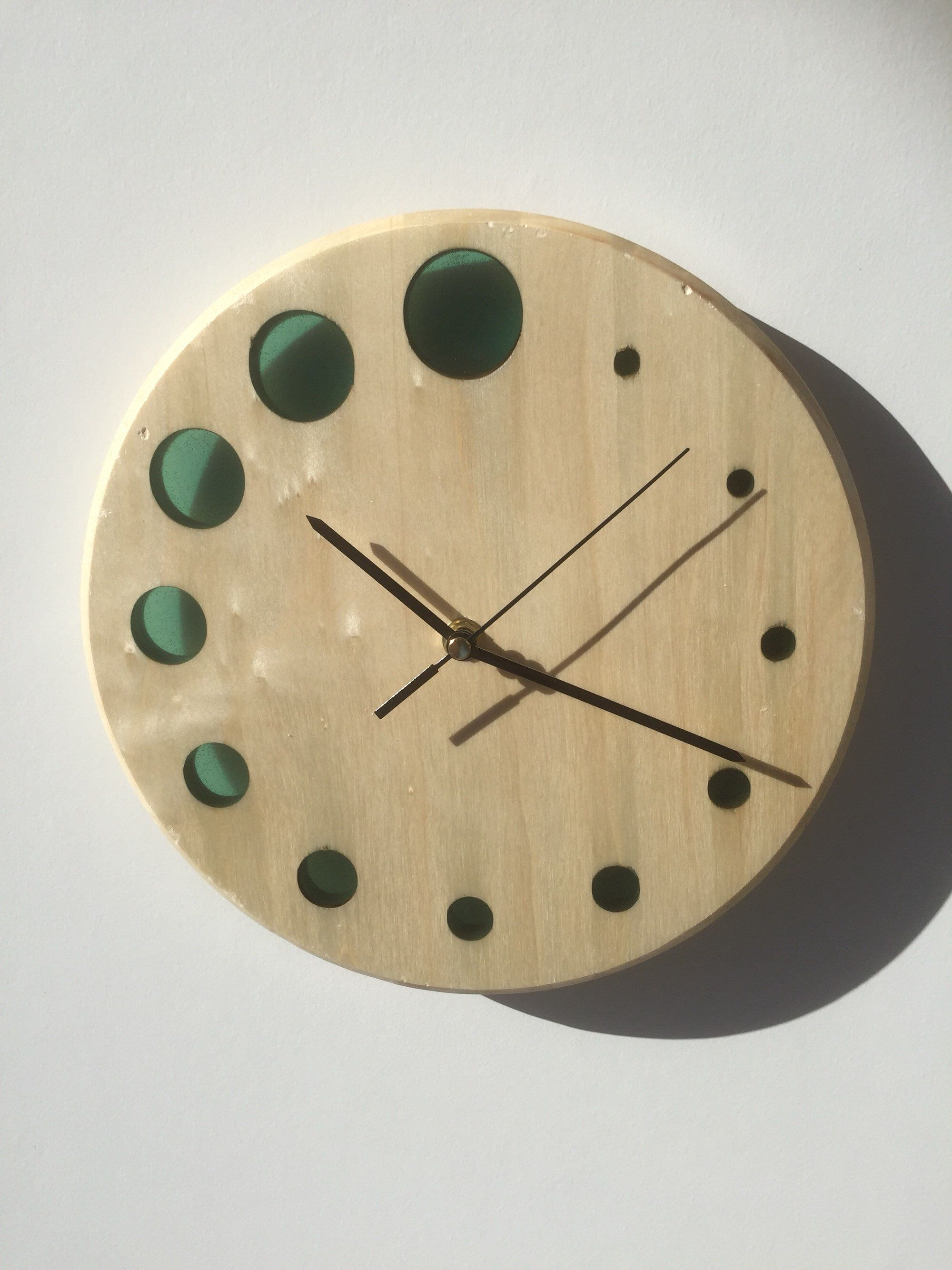14dd8cd987 Excited to share this item from my #etsy shop: Handmade modern solid lime  wood and turquoise epoxy resin wall clock