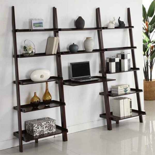 Walnut 3 Piece Leaning Ladder Shelf With Laptop Desk 216 Liked On Polyvore Featuring Home Furniture Brown Shelves