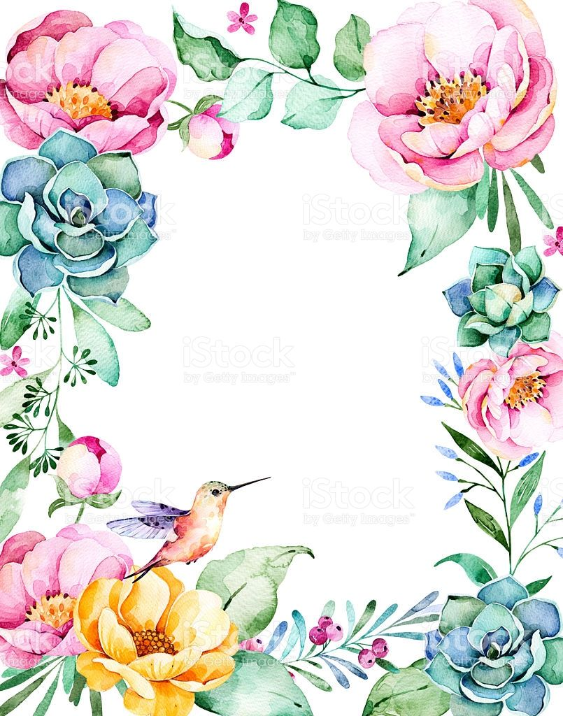 Beautiful watercolor frame border with place for text with