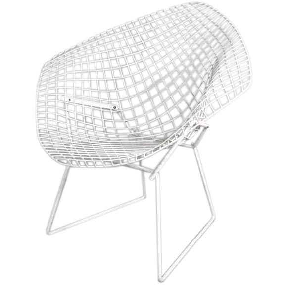1stdibs | Vintage White Diamond Chair By Harry Bertoia For Knoll