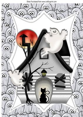 spooky eyes watching you in the ghost house A4e on Craftsuprint - Add To Basket!