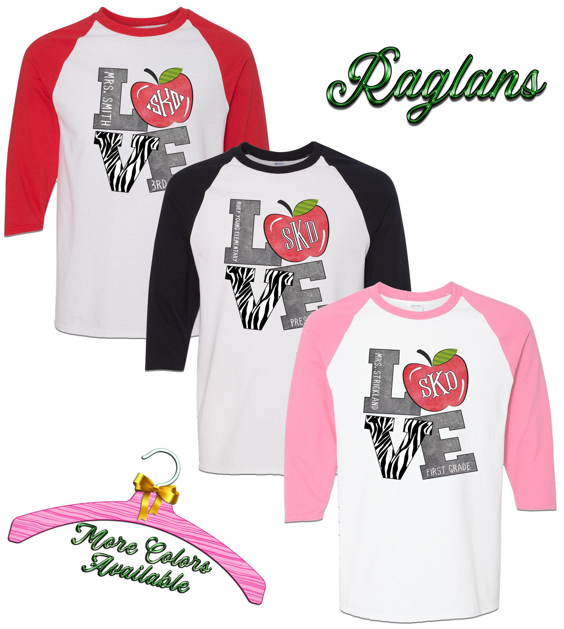 Custom Zebra Love Monogram Raglan Shirt, Cute Back To School Shirt, First Day of School Shirt Teacher Team Shirts 100 Days of School Shirt Customize both the writing in the L and in the E of this super cute tee to say anything! School, Teacher's Name, Grade...use this space however you choose! Then add your monogram in the apple, choose your Raglan tee color and make this tee unique just like you! ✨Also Available in Toddler Sizes (Rabbit Skins), Adult and Youth Bella Canvas and Comfort Colors...