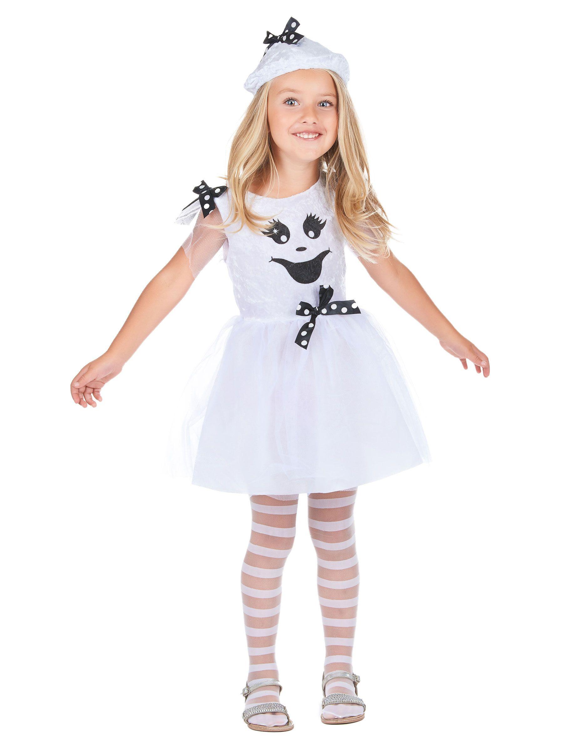 Déguisement fantôme fille : Ce déguisement de fantôme pour fille se compose d'une robe, d'un chapeau et d'une paire de collants (chaussures non incluses). Le haut de la robe est blanc dans un tissu... #deguisementfantomeenfant
