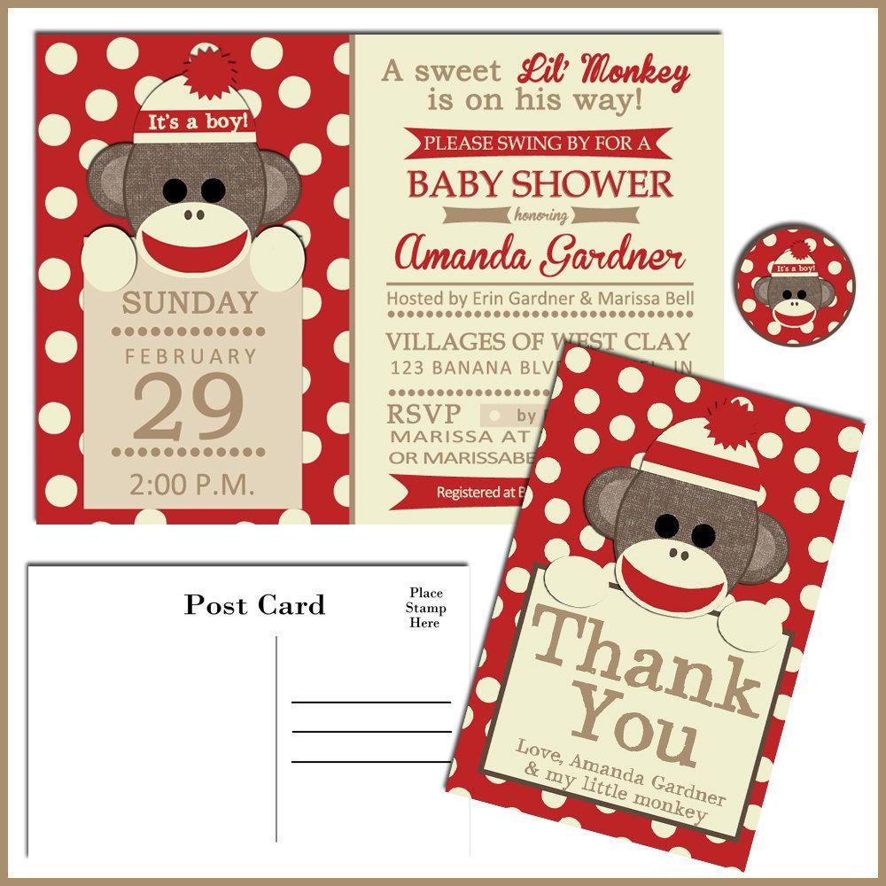 PRINTABLE Baby Shower Games for Sock Monkey baby shower | Shower ...