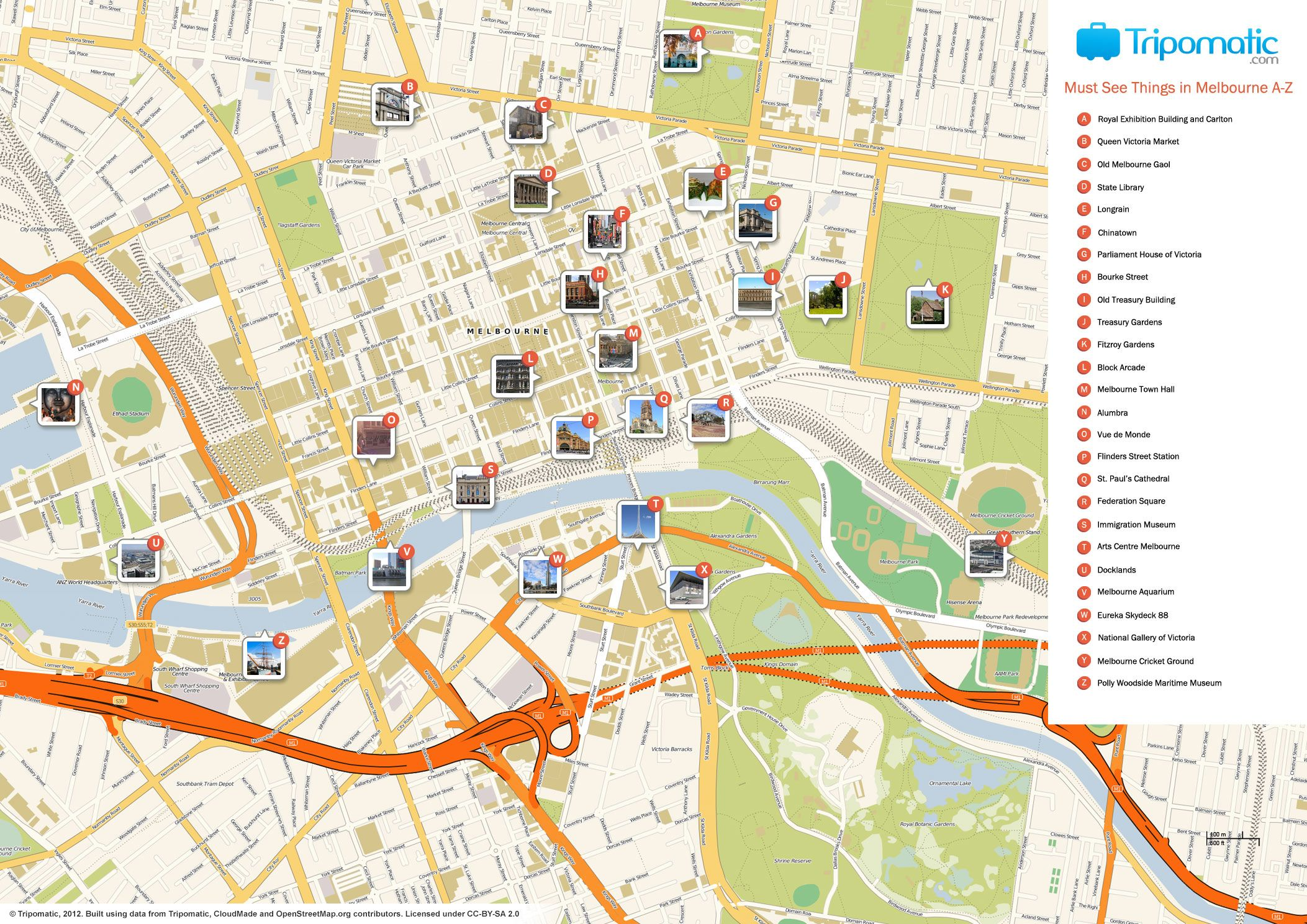 Map of Melbourne attractions Tripomaticcom Australia 2016