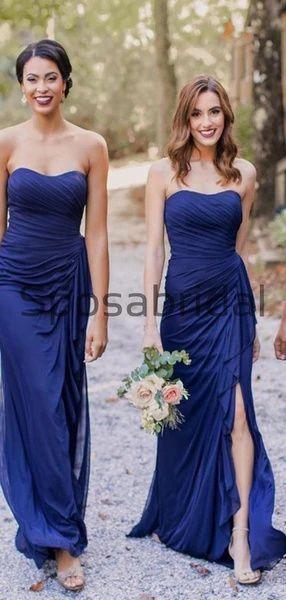 Chic Silk Like Chiffon Sweetheart Sheath Bridesmaid Dresses With Slit WG619#Long #mismatched #blush #summer #bridesmaiddress #fall #bridesmaiddresses #bridesmaids #weddingguest #wedding #Modestbridesmaiddress #mermaid #beach