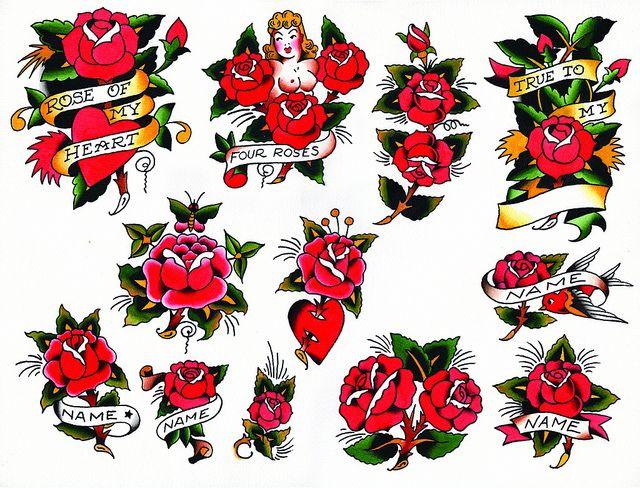 Sailor Jerry Rose Flash Sheet | Sailor jerry tattoos ...