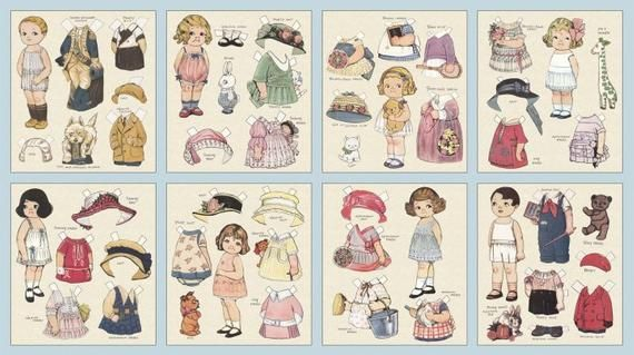Rare Aunt Lindy S Paper Doll Clothes On Cream Blue Hill Fabrics