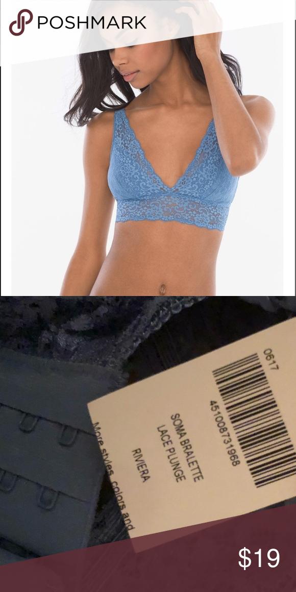 bb08fb95a33 Soma Riviera bralette XS nwt Soma bralette lace plunge in Riviera blue Soma  Intimates   Sleepwear Bras
