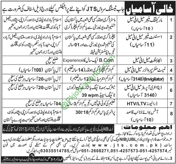 Job Testing Service JTS Pakistan Job Latest Advertisement January - job test