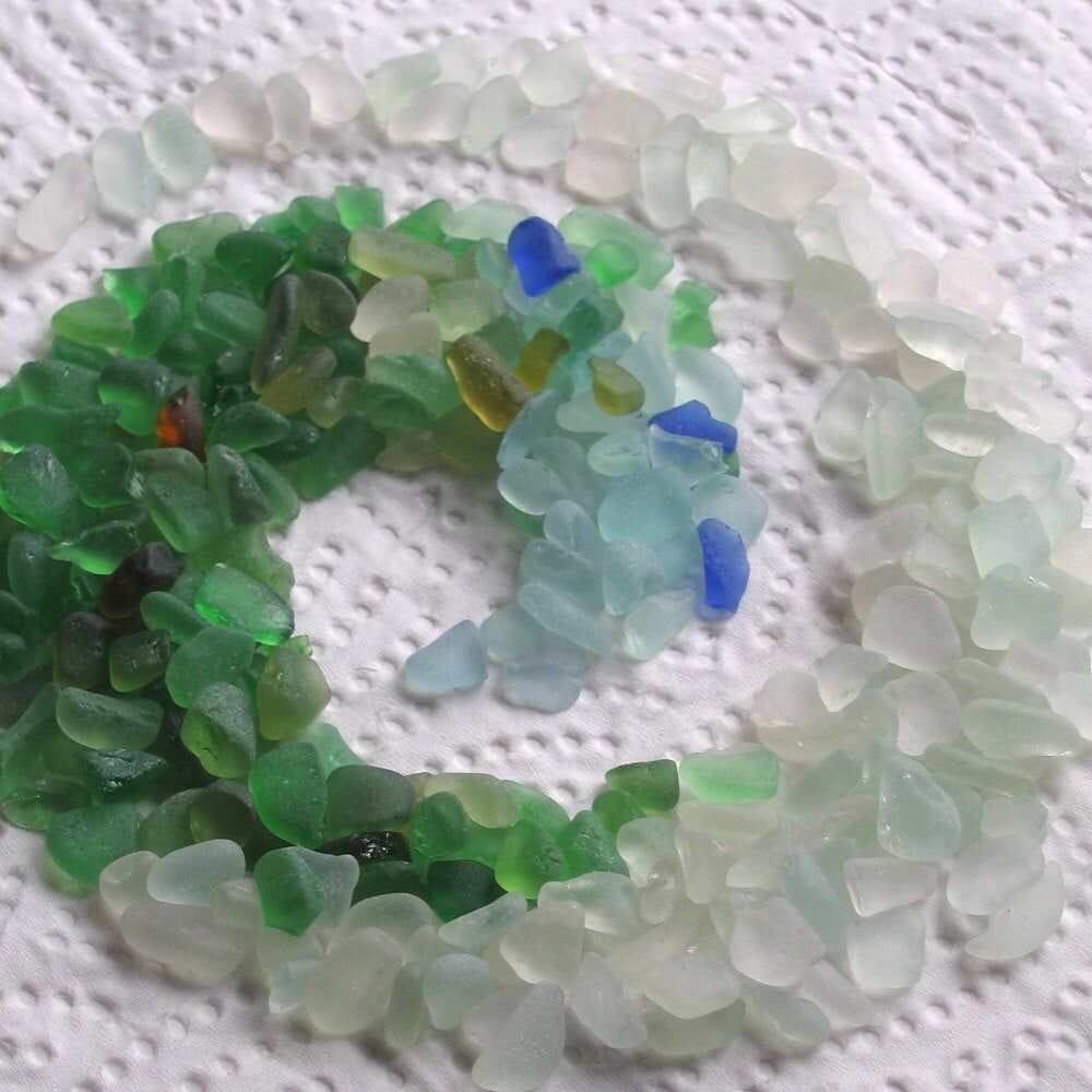 275 small and tiny sea glass chips imperfections art