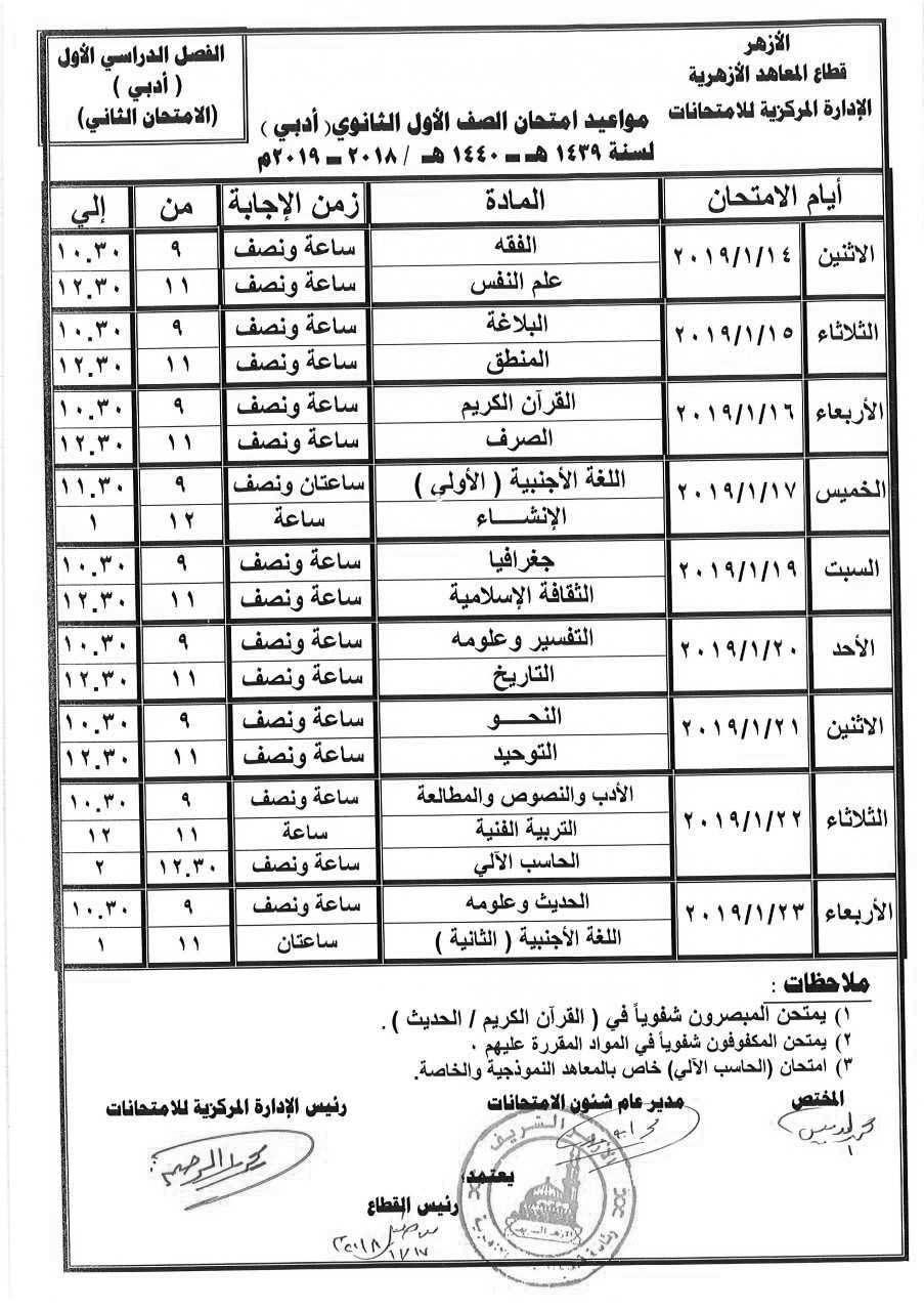 جدول ومواعيد امتحانات الثانوية العامة الأزهرية الفصل