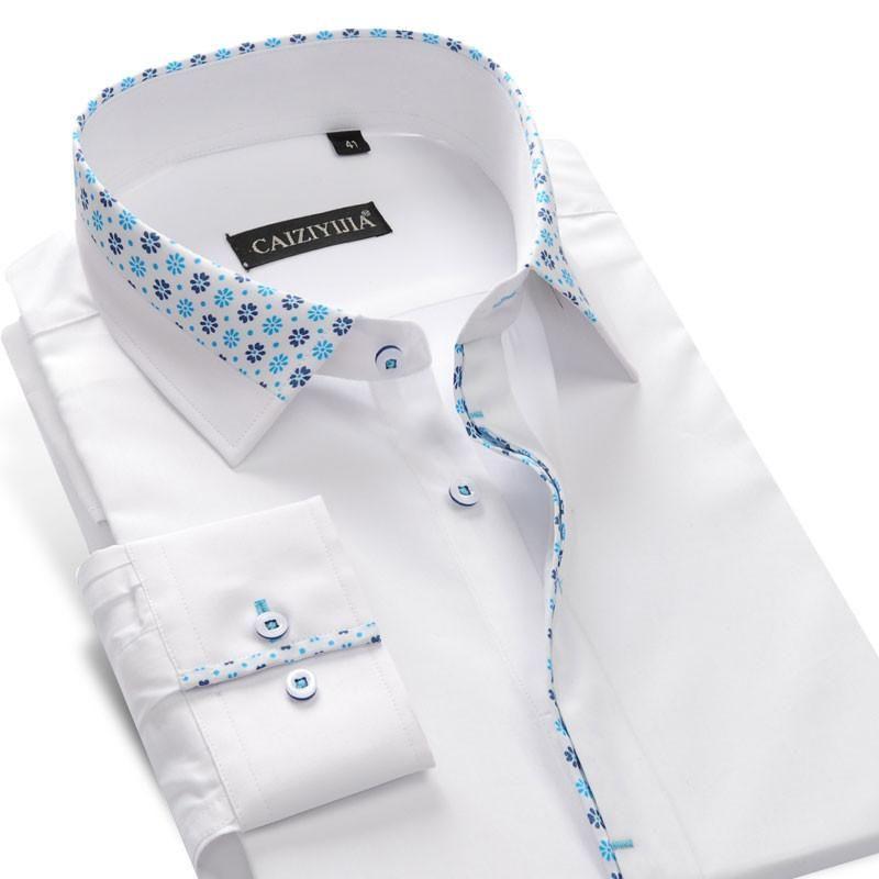 Men/'s Floral Printed Shirt Men Italian Dress Shirt Designer Great Quality Formal Regular Fit White