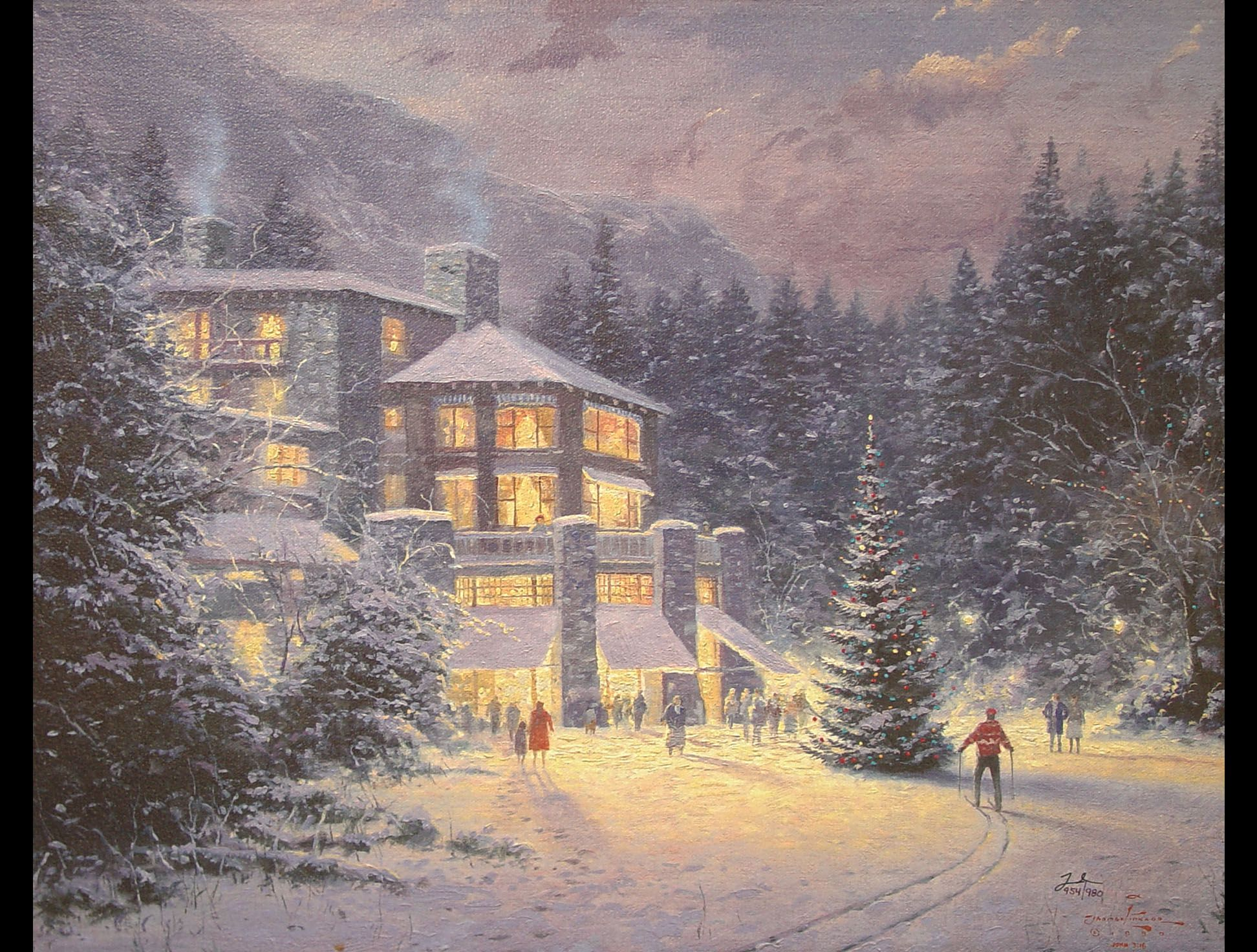 thomas kinkade christmas village | Thomas Kinkade - Christmas at the ...