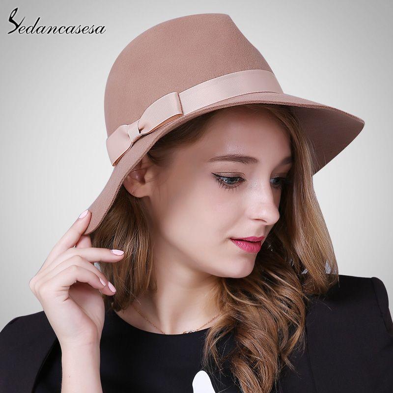 Brand Spring Fashion Wide Brim Australian Wool Felt Hat Black Khaki Ladies  Women s Elegant Hats Wholesale Fedora Caps Tag a friend who would love this! b5469af1f5ee