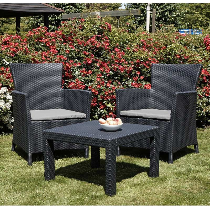 Keter Rosario Rattan Style 2 Armchair Square Lounge Set on