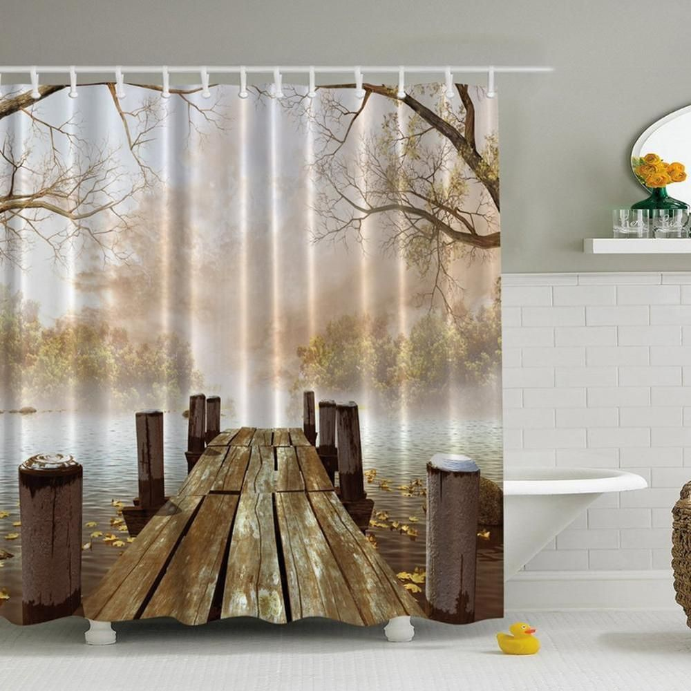 What About This Fabric Fall Boat Dock Shower Curtain From Ebay