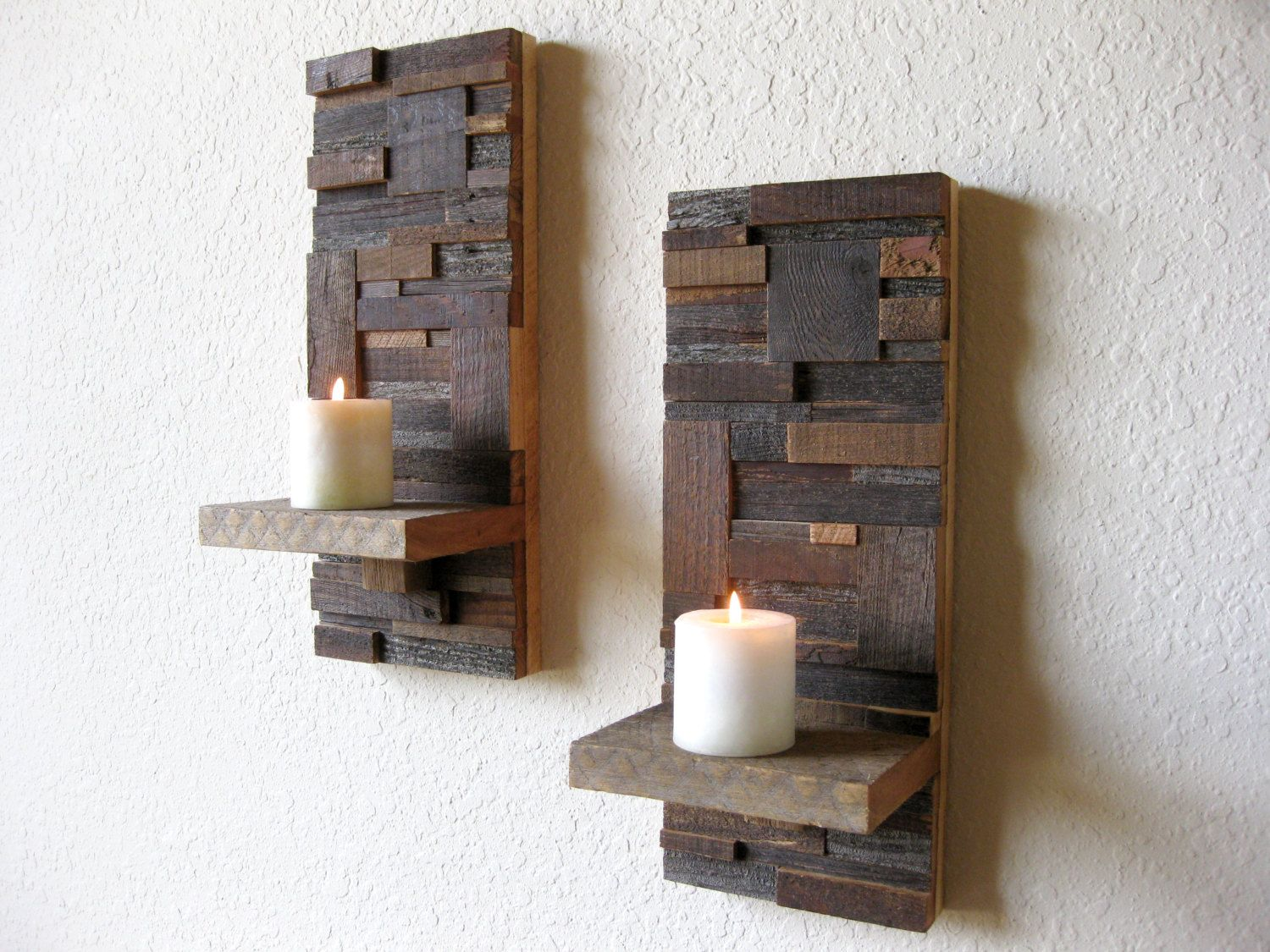 Reclaimed barn wood abstract wall art sconces contemporary