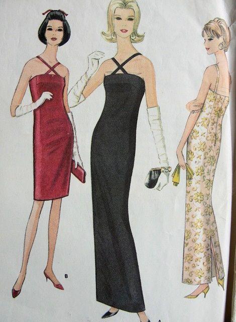 1960s SLIM ELEGANT EVENING GOWN COCKTAIL DRESS PATTERN McCALLS 8498 ...