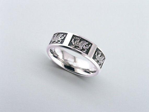Welsh Dragon Engraved Titanium Ring