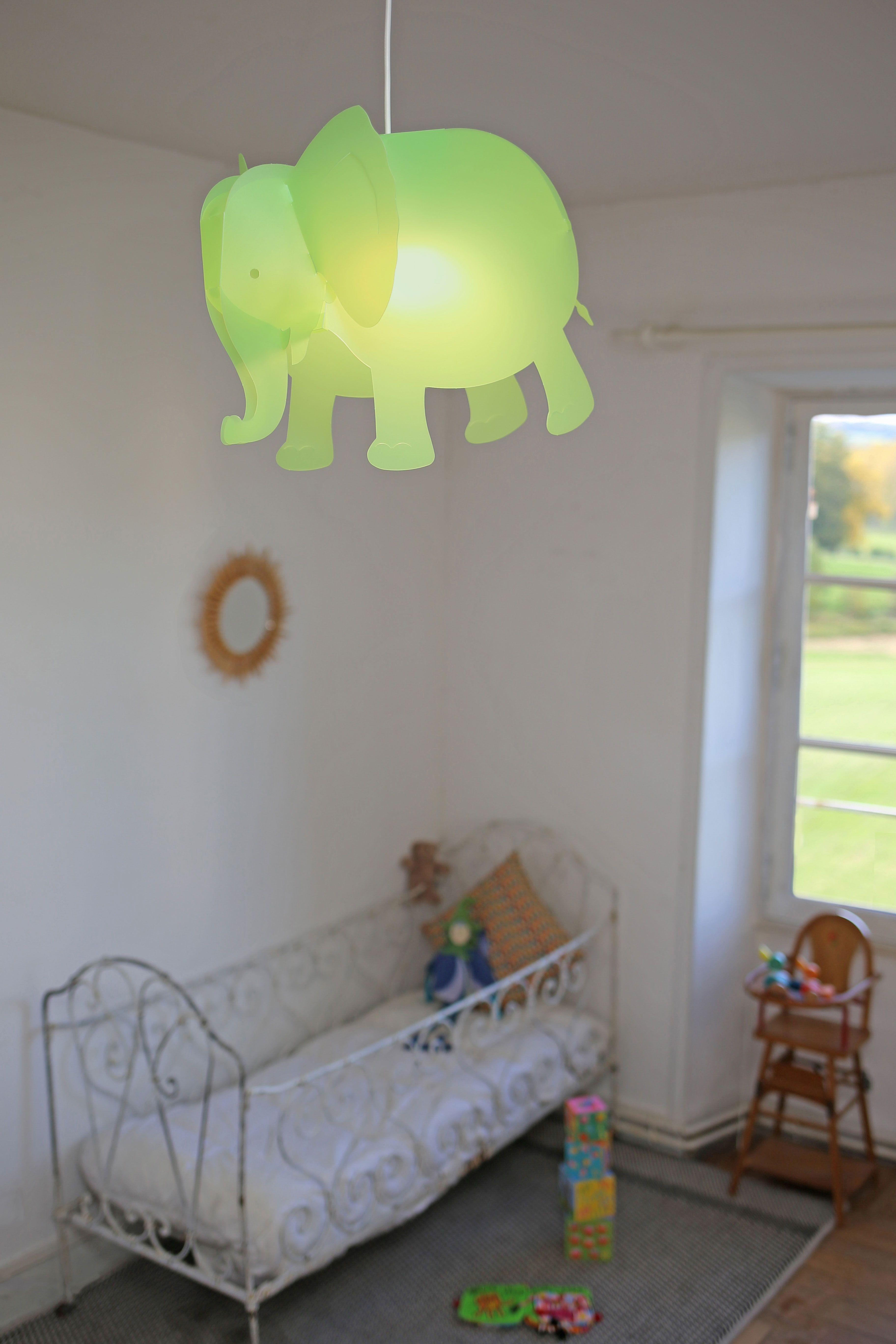 Lampe Suspension Enfant Elephant Vert Anis Creation Francaise R M