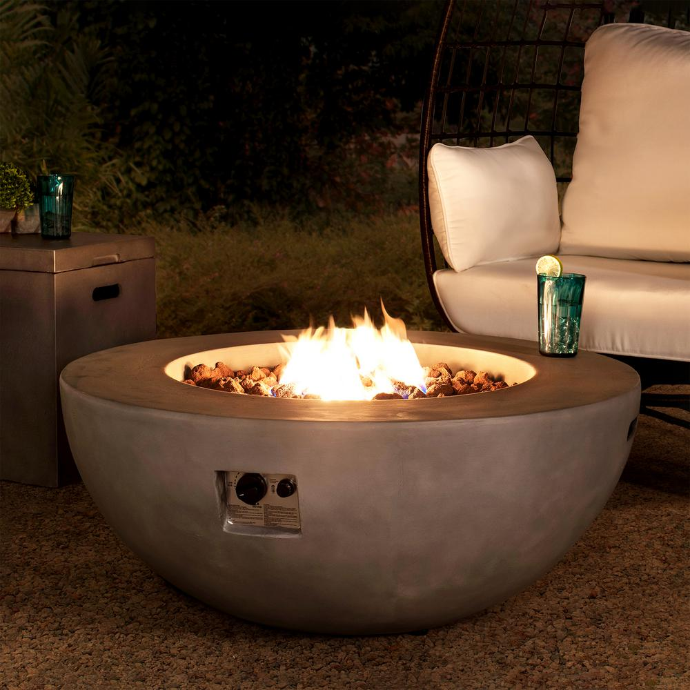 Sunjoy Adler 42 In X 16 In Bowl Concrete Propane Powered Fire Pit Table A302003900 The Home Depot In 2020 Fire Pit Table Propane Fire Pit Table Fire Pit