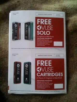 2 Coupons for FREE 1 Vuse Solo & 1 Vuse Cartridges (original or