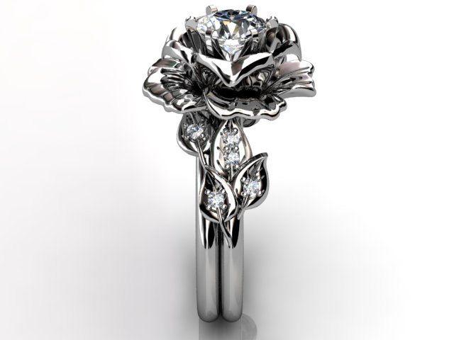 14k White Gold Diamond Unusual Unique Flower Engagement Ring