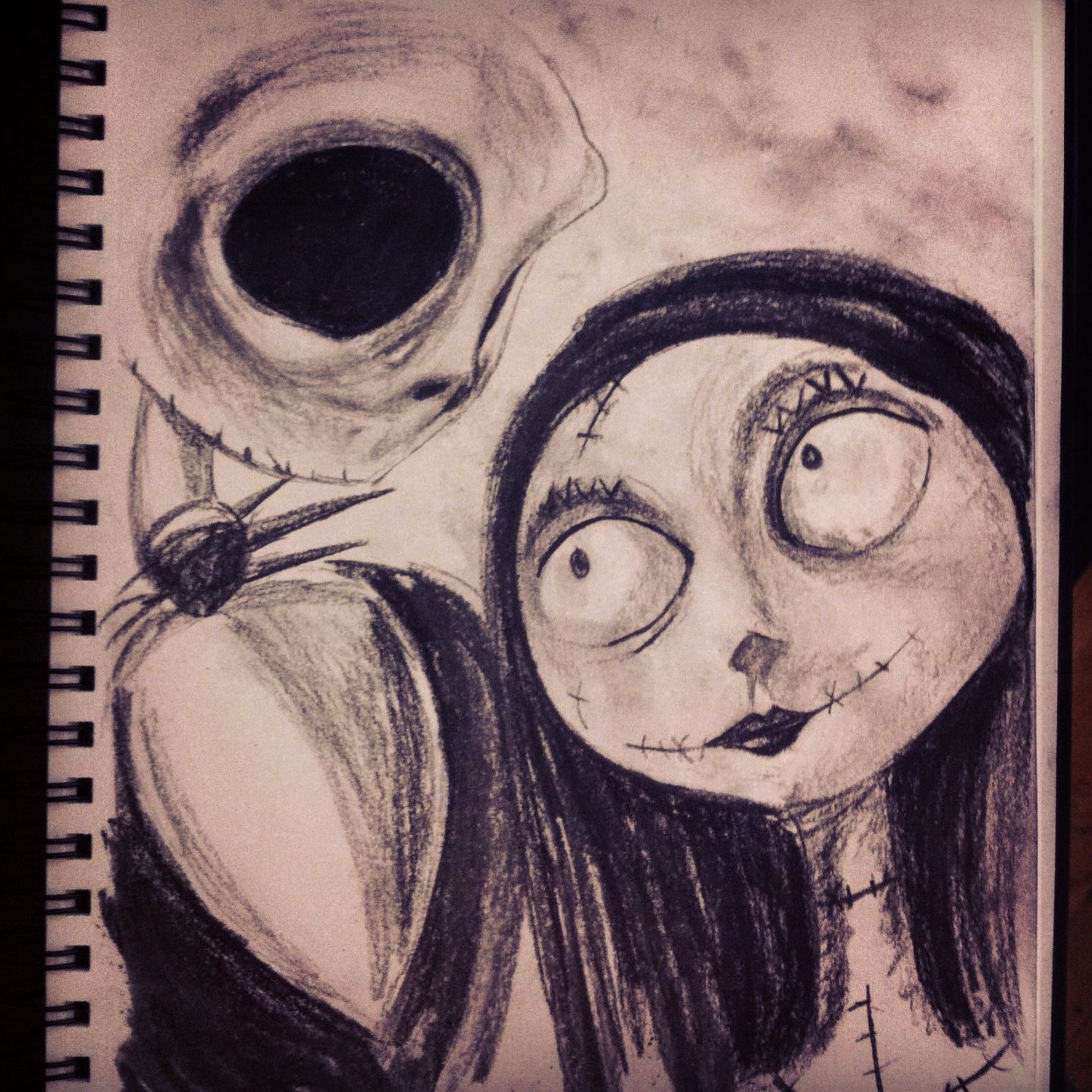 Charcoal sketch of Jack and Sally. The Nightmare Before Christmas ...