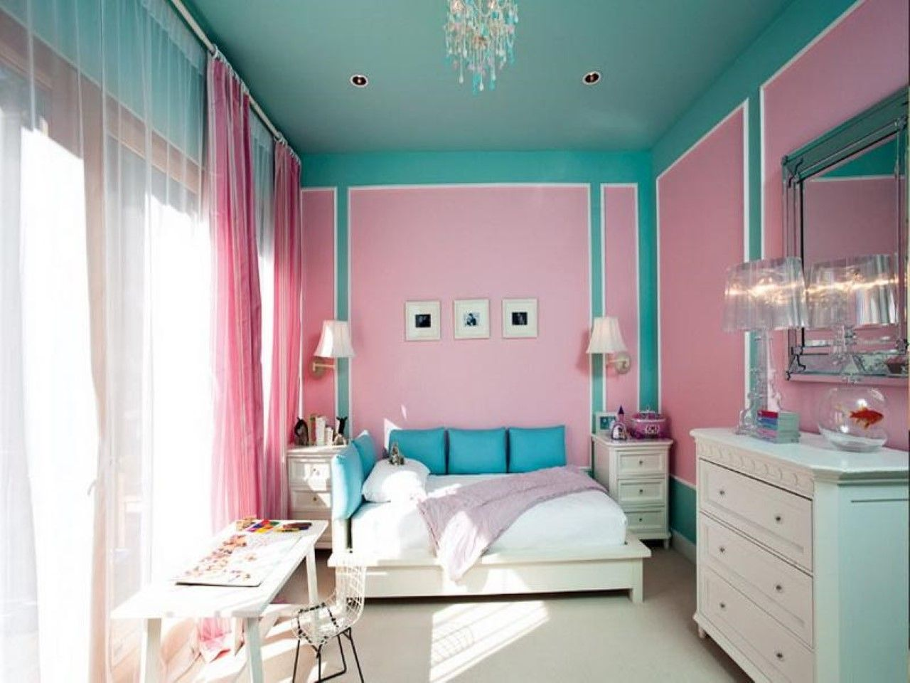 Incroyable Bold Two Tone Wall Colour Ideas In Stunning Little Girl Room Feat White  Dresser And Comfortable