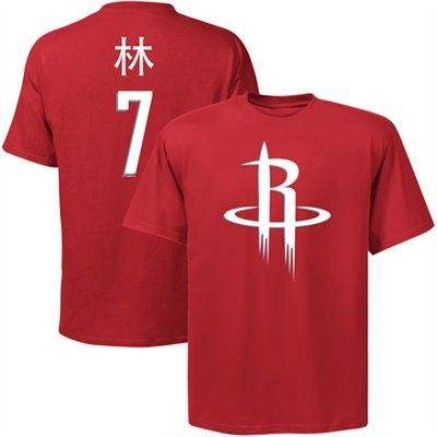 Majestic Jeremy Lin Houston Rockets Player Symbol T-Shirt - Red