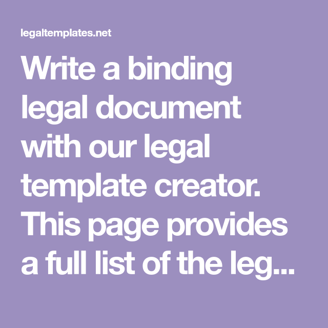 Write A Binding Legal Document With Our Legal Template